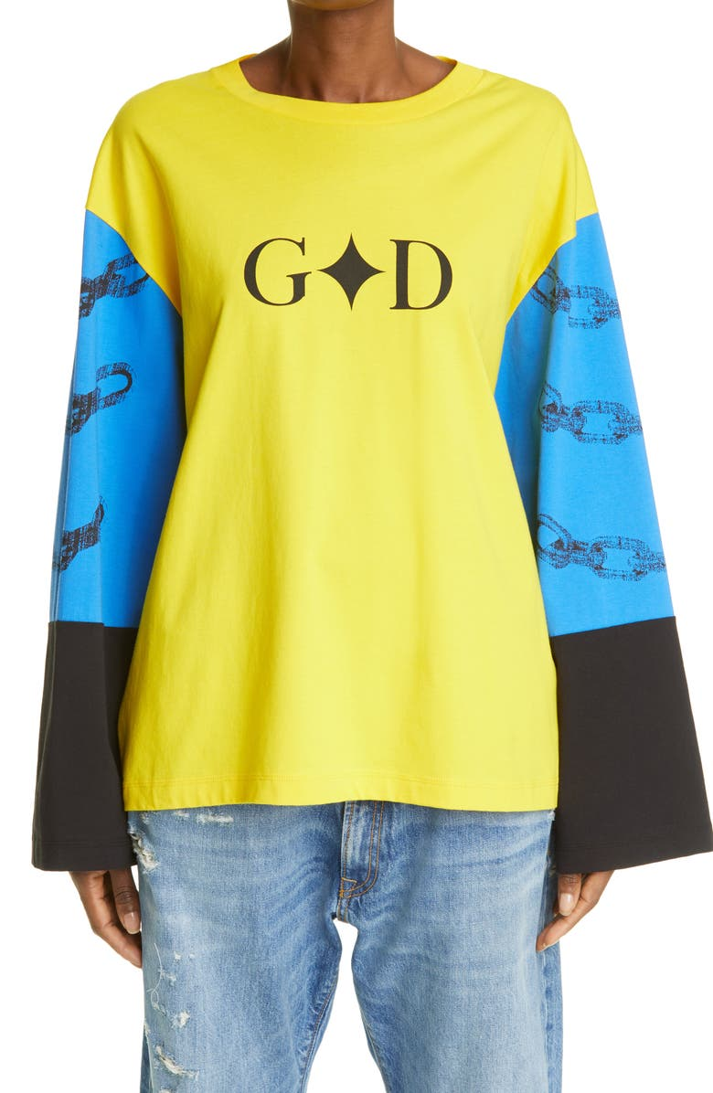 YOUTHS IN BALACLAVA Unisex Long Sleeve Graphic Tee, Main, color, YELLOW / BLUE