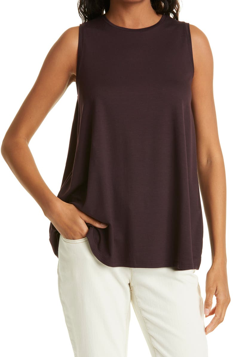 EILEEN FISHER Crewneck Long Tank, Main, color, CASSIS