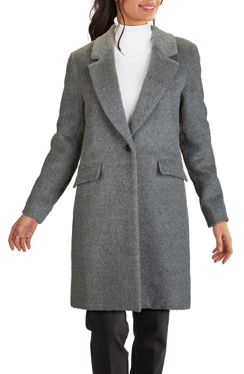 COLE HAAN SIGNATURE Wool & Alpaca Blend Coat, Main, color, MID GREY