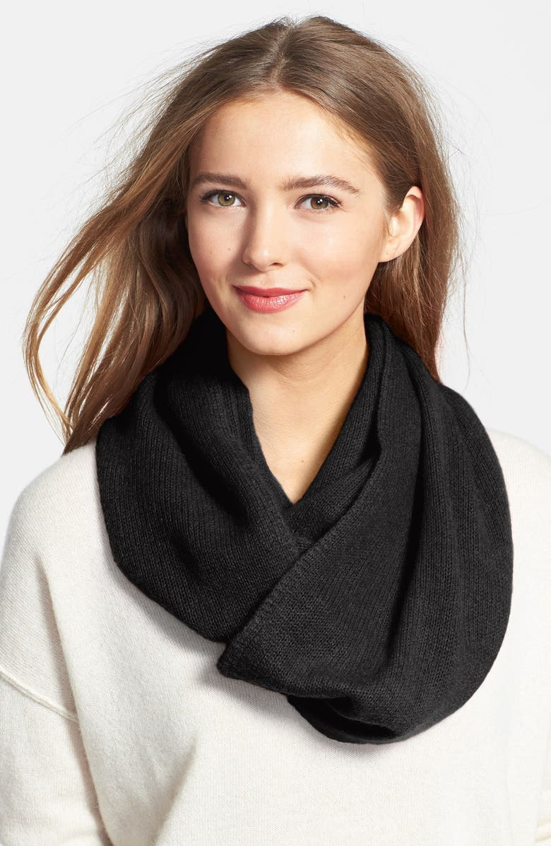 HALOGEN<SUP>®</SUP> Cashmere Infinity Scarf, Main, color, Black