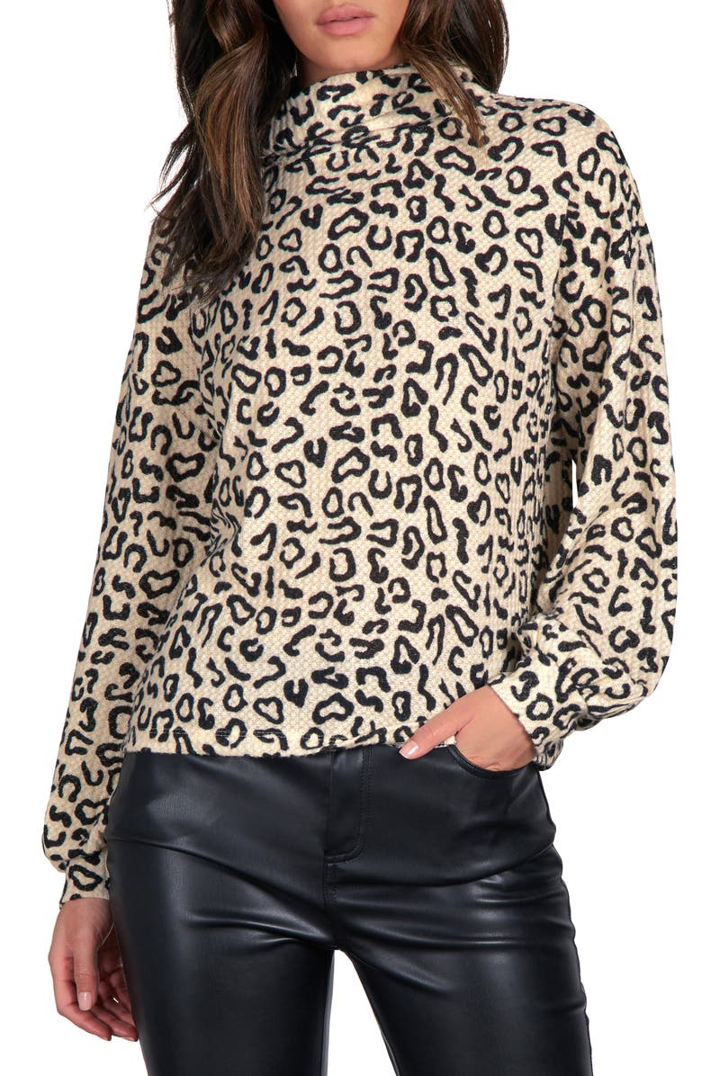 SANCTUARY Klara Animal Print Long Sleeve Top, Main, color, SPOTTED