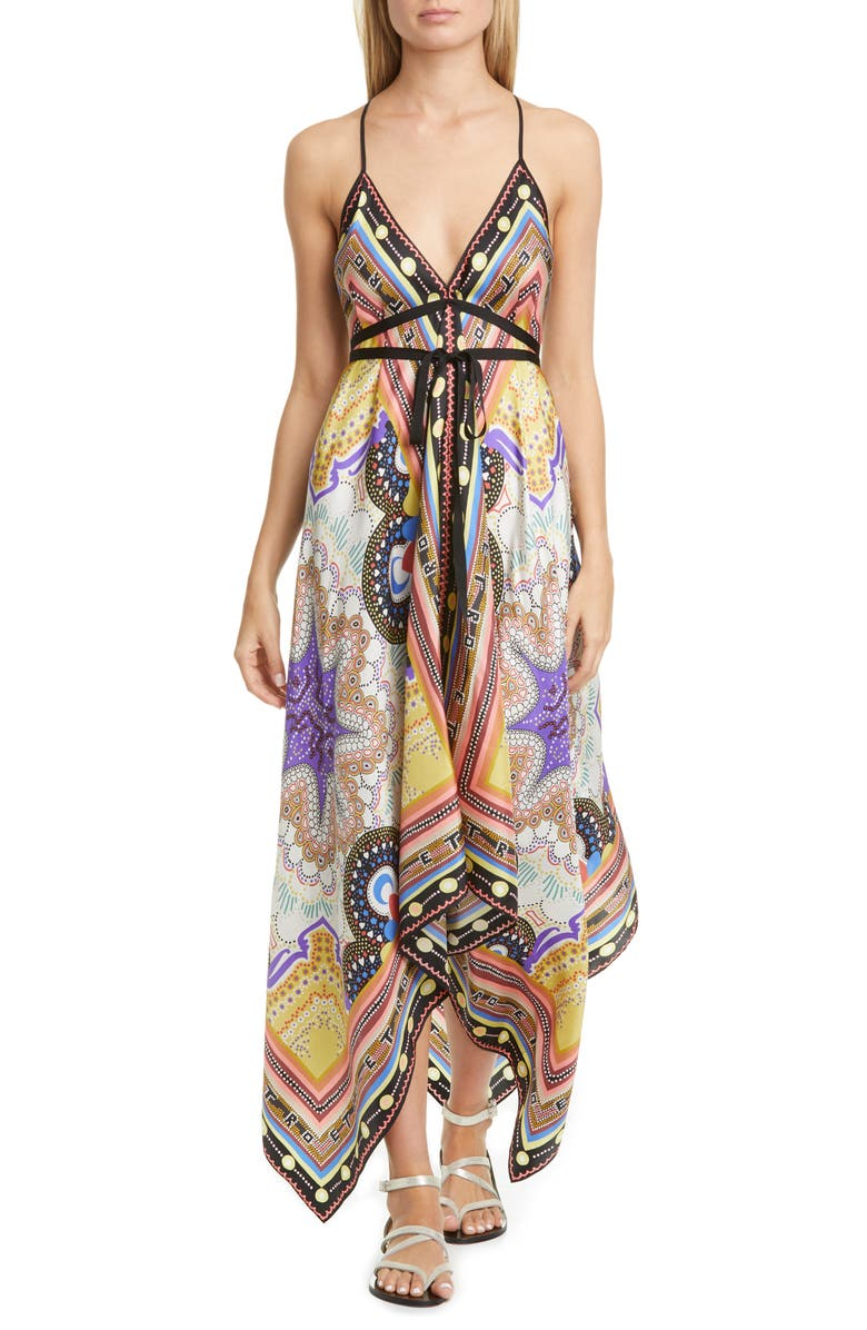 ETRO Handkerchief Hem Silk Cover-Up Dress, Main, color, 250