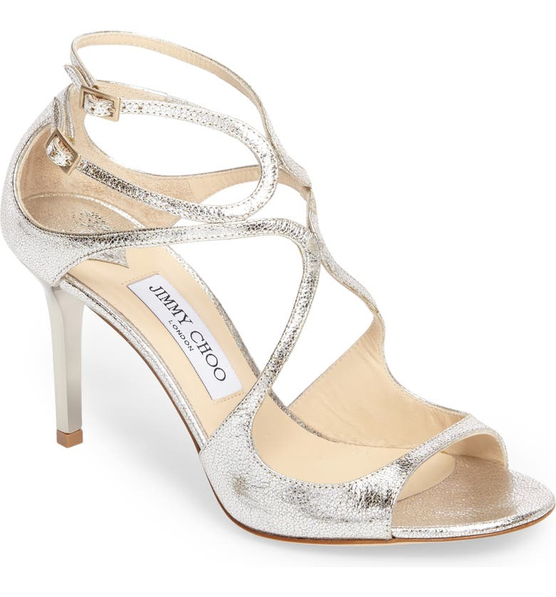 JIMMY CHOO Ivette Glitter Leather Sandal, Main, color, 041