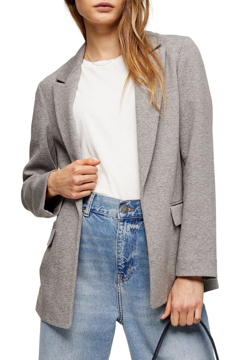 TOPSHOP Marled Open Front Blazer, Main, color, 020