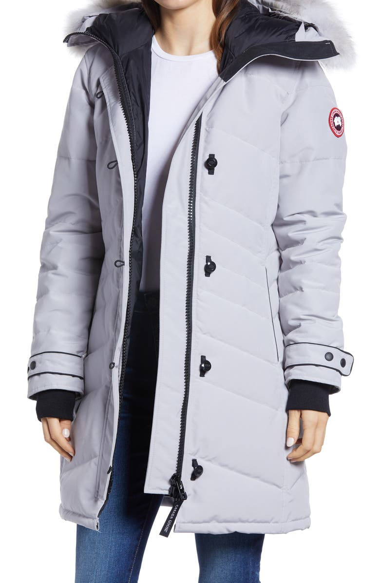 CANADA GOOSE Lorette Hooded Down Parka with Genuine Coyote Fur Trim, Main, color, MOONSTONE GREY