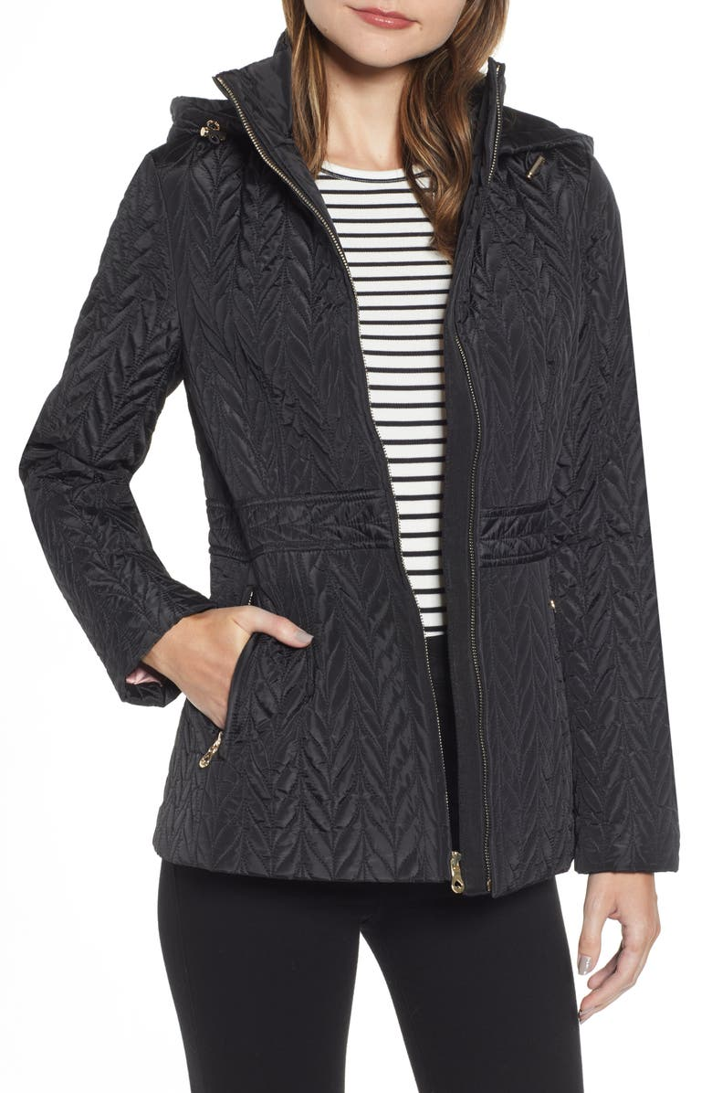 KATE SPADE NEW YORK hooded quilted jacket, Main, color, 001