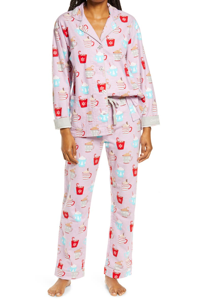PJ SALVAGE Flannel Pajamas, Main, color, LAVENDAR