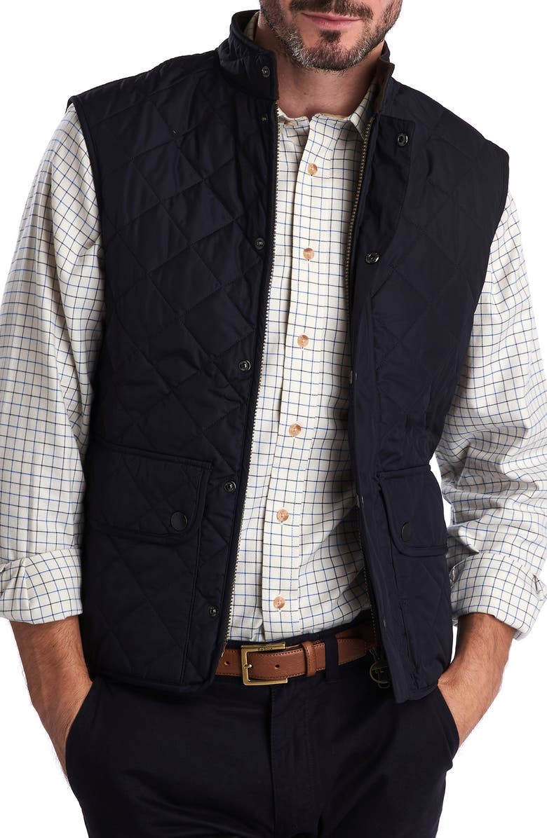 BARBOUR Lowerdale Regular Fit Quilted Vest, Main, color, NAVY