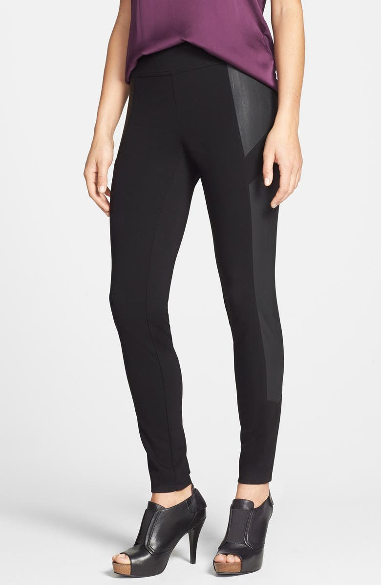 VINCE CAMUTO Two by Vince Camuto Faux Leather Panel Ponte Moto Leggings, Main, color, RICH BLACK