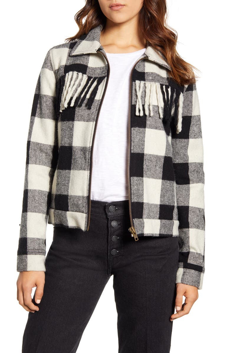 LUCKY BRAND Fringe Wool Blend Jacket, Main, color, 001