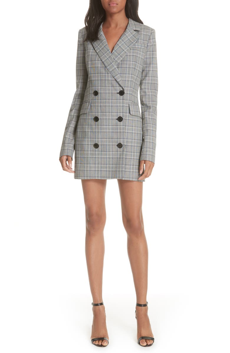 MILLY Cotton Suiting Blazer Dress, Main, color, CHECK
