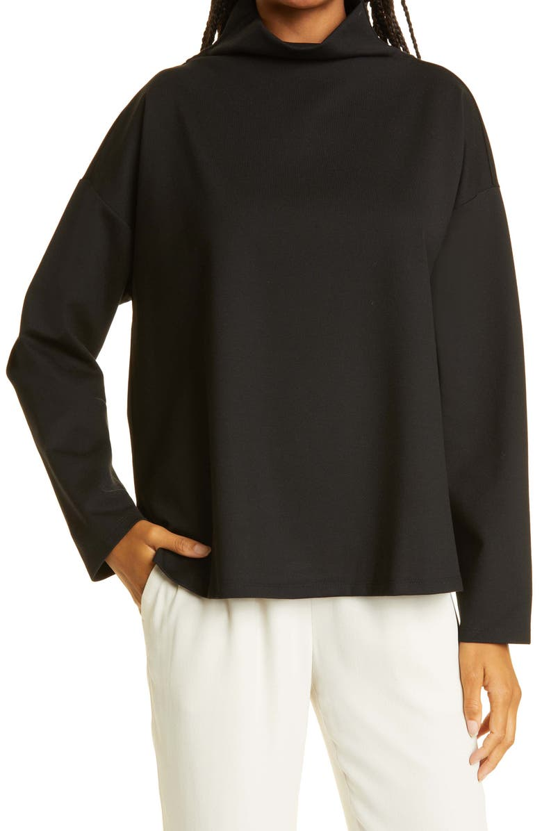 EILEEN FISHER Funnel Neck Ponte Knit Top, Main, color, BLACK