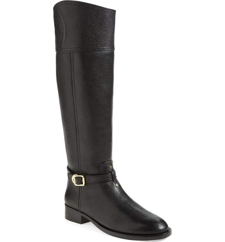 TORY BURCH 'Marlene' Leather Riding Boot, Main, color, Black