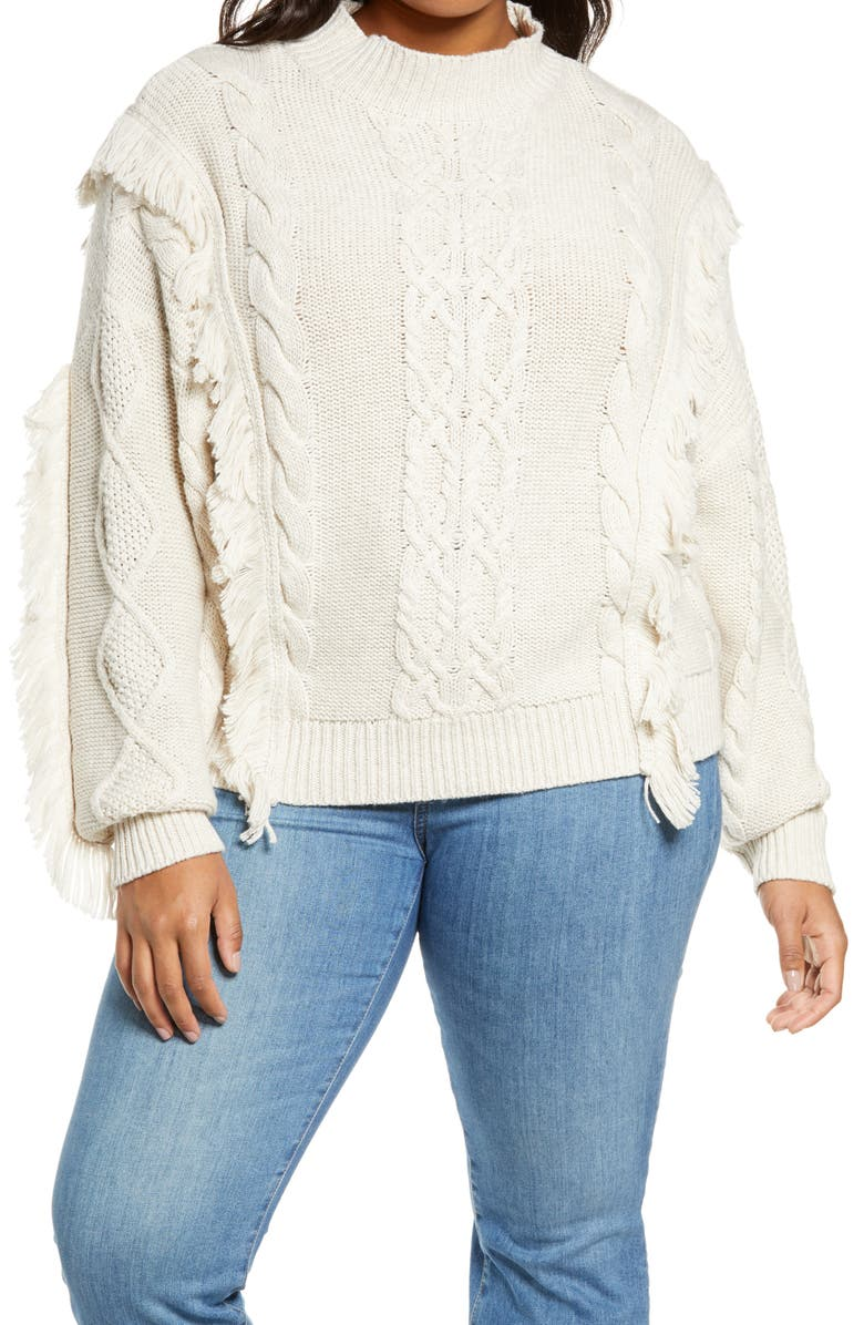 LEITH Cable Knit Fringe Sweater, Main, color, BEIGE OATMEAL LIGHT HEATHER