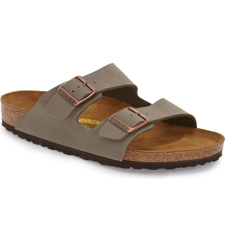 BIRKENSTOCK Arizona Slide Sandal, Main, color, STONE FAUX LEATHER