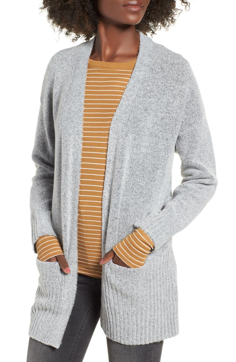 DREAMERS BY DEBUT Rib Edged Open Cardigan, Main, color, 020