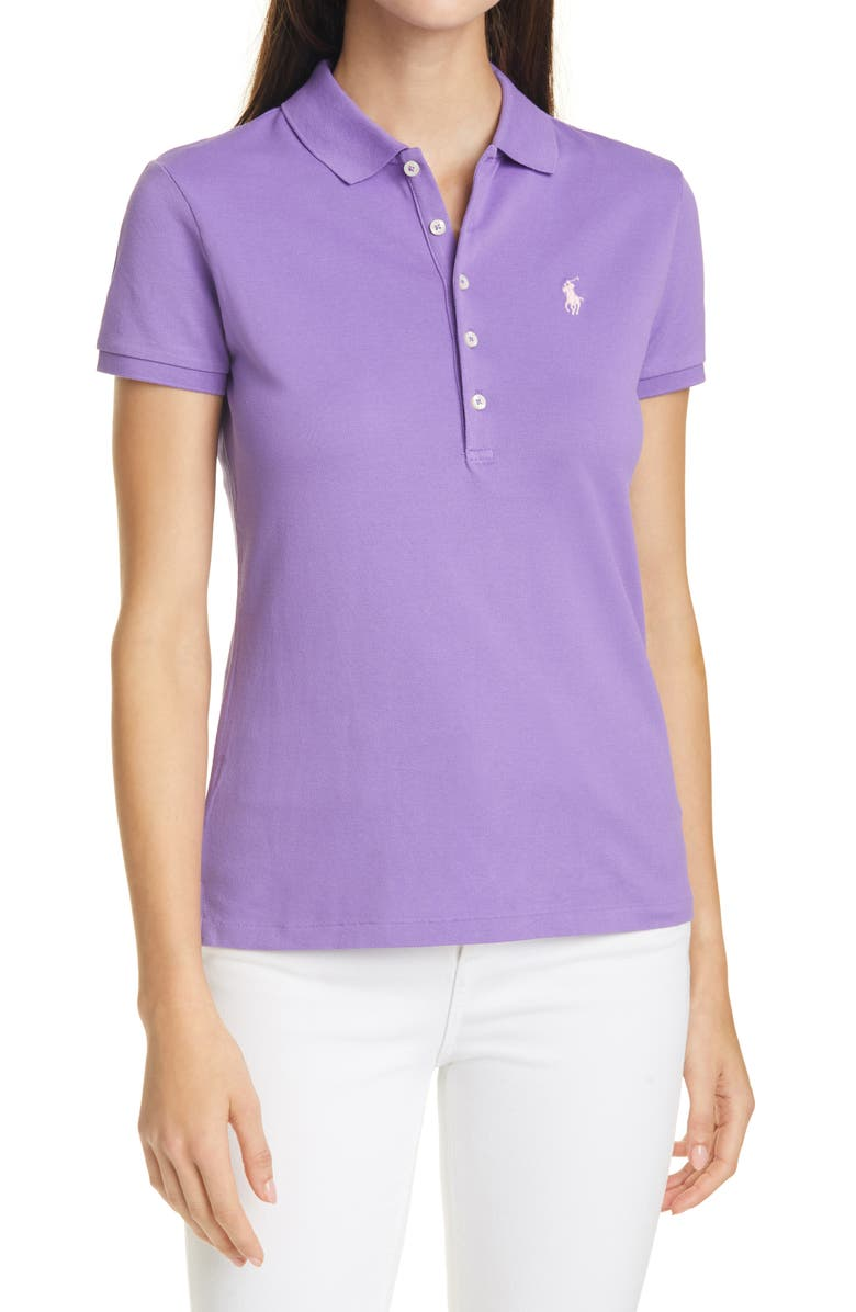POLO RALPH LAUREN Julie Slim Fit Polo, Main, color, SPRING VIOLET