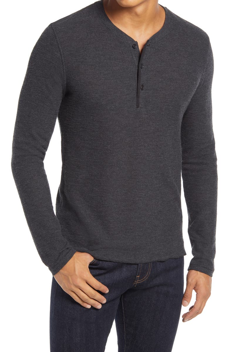 BILLY REID Thermal Knit Cotton Blend Henley, Main, color, BLACK