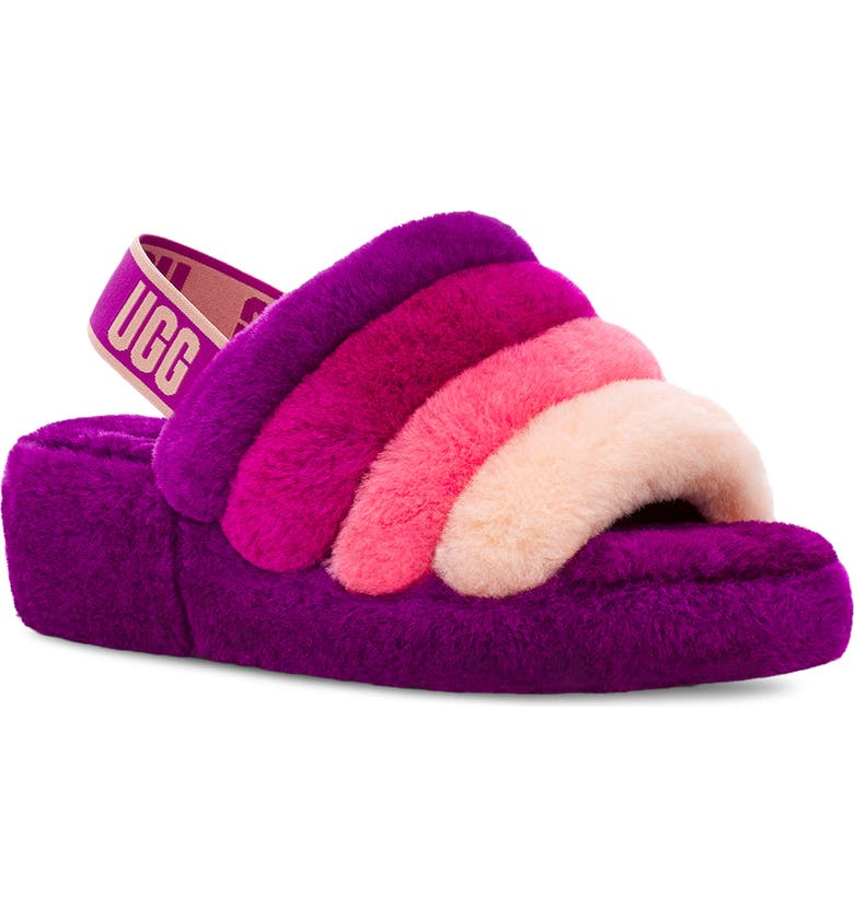 UGG<SUP>®</SUP> Fluff Yeah Genuine Shearling Slingback Sandal, Main, color, BERRY MULTI