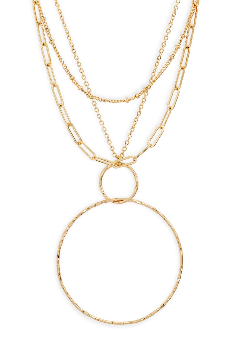 NORDSTROM Tiered Orbital Pendant Necklace, Main, color, GOLD
