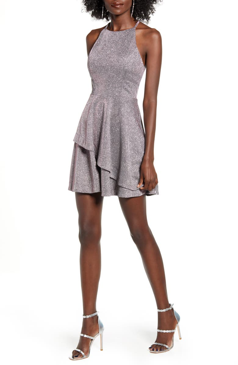 SPEECHLESS Metallic Layered Fit & Flare Party Dress, Main, color, 040