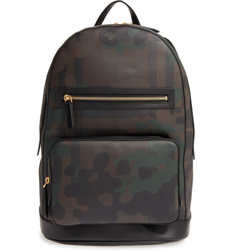 BURBERRY 'Marden' Camo Print Backpack, Main, color, 207