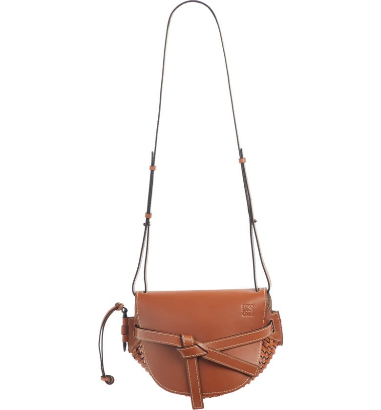 LOEWE Small Gate Woven Leather Bag, Main, color, TAN