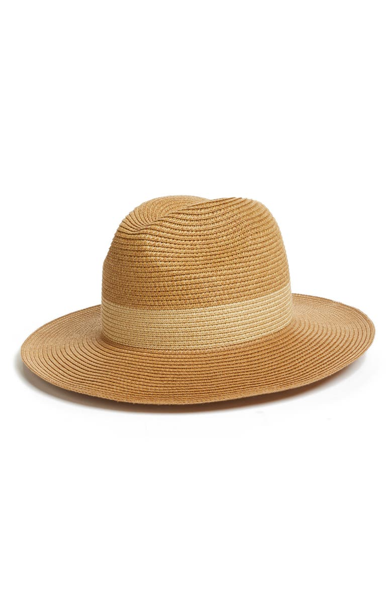 HALOGEN<SUP>®</SUP> Packable Panama Hat, Main, color, NATURAL COMBO