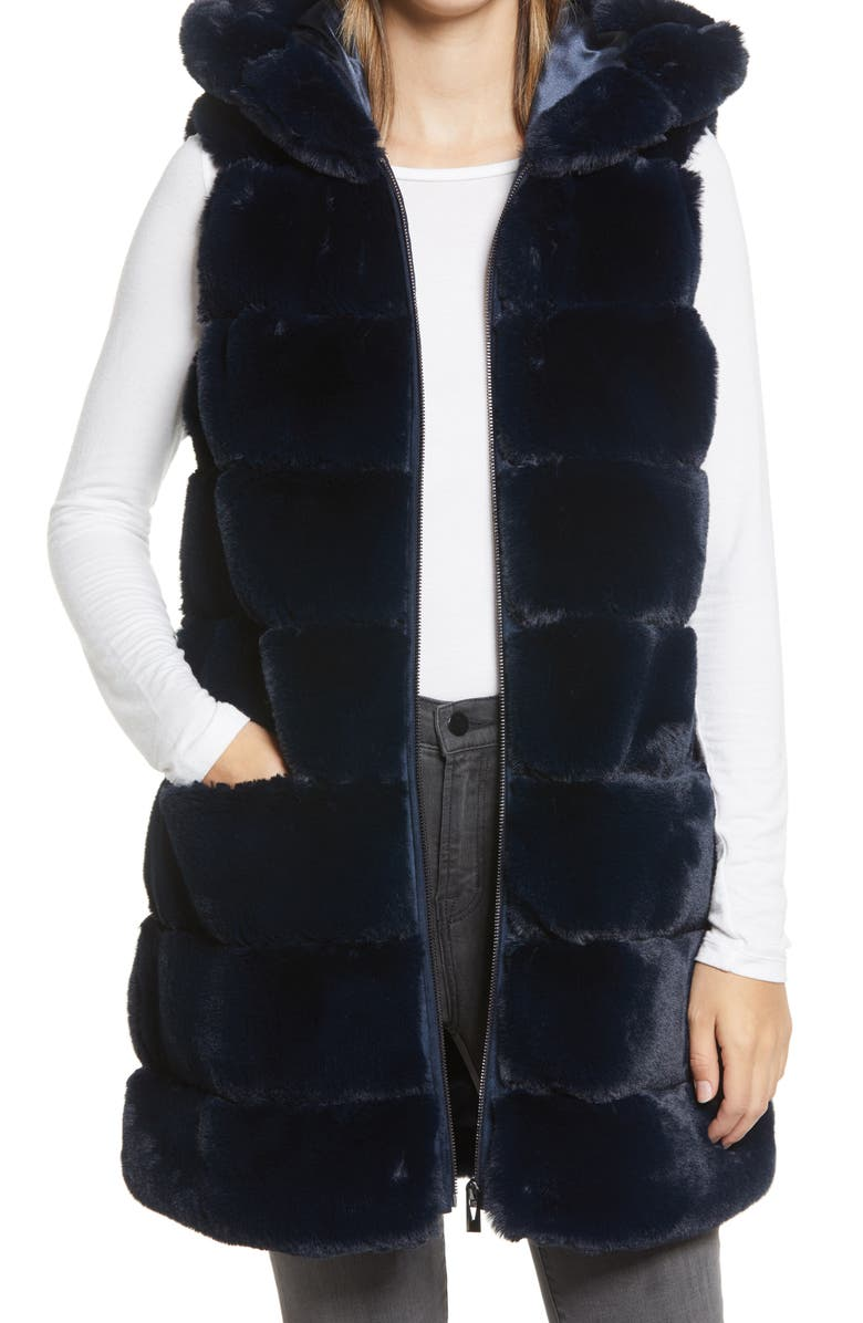 VIA SPIGA Grooved Faux Fur Hooded Vest, Main, color, 413