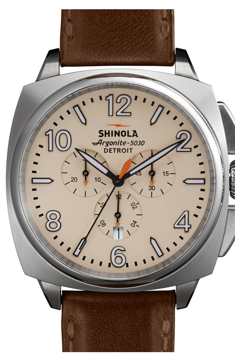 SHINOLA 'The Brakeman' Chronograph Leather Strap Watch, 46mm, Main, color, 200