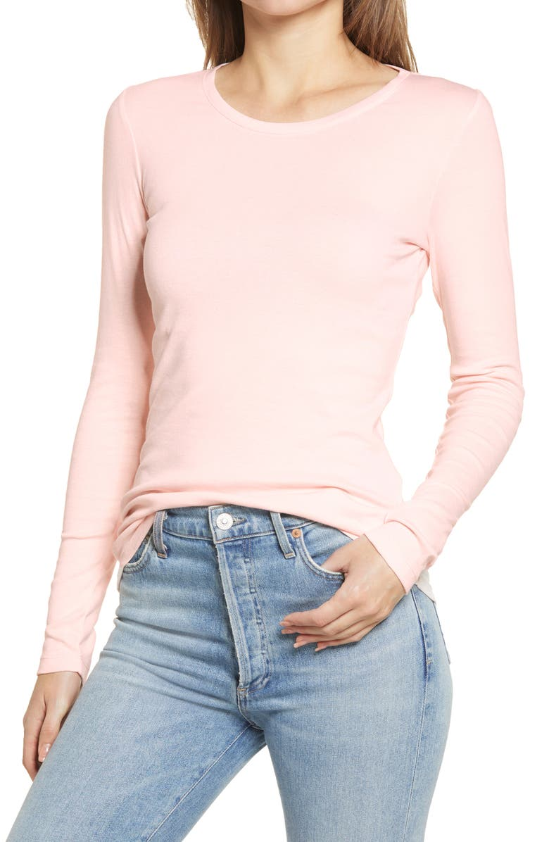 CASLON<SUP>®</SUP> Long Sleeve Scoop Neck Cotton Tee, Main, color, PINK CRYSTAL