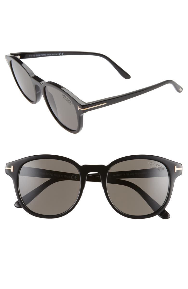 TOM FORD Jameson 55mm Cat Eye Polarized Sunglasses, Main, color, SHINY BLACK/ SMOKE POLARIZED