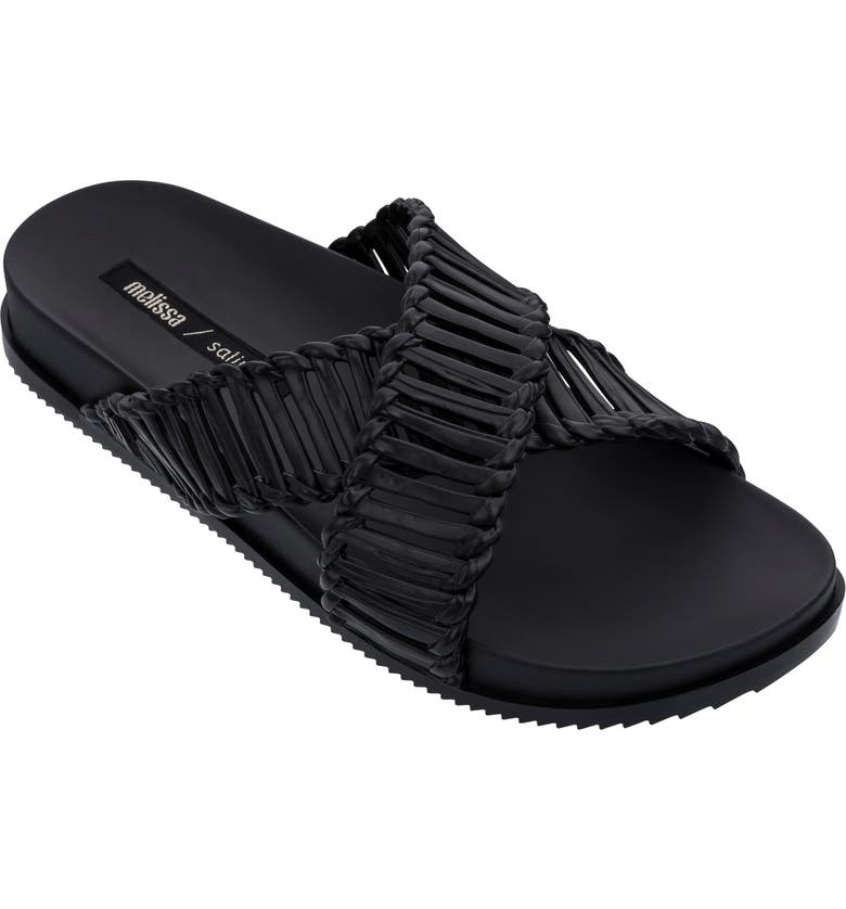 MELISSA x Salinas Cosmic II Slide Sandal, Main, color, BLACK RUBBER