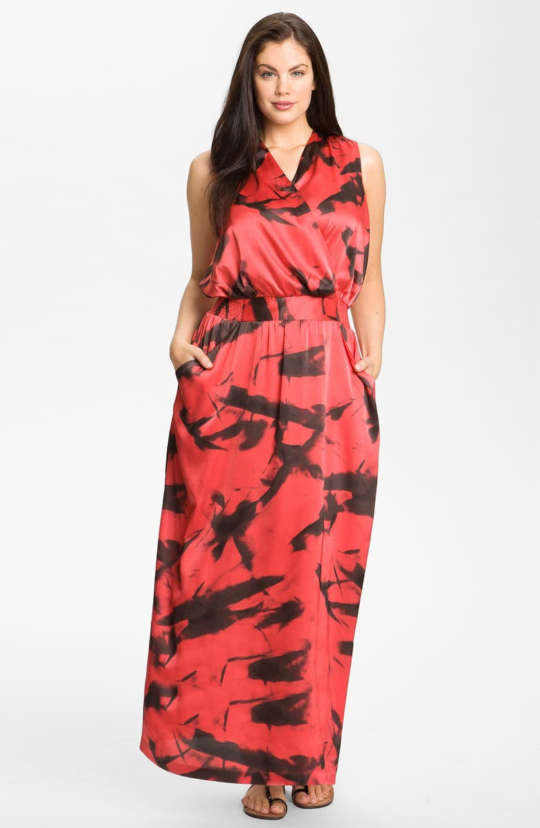 VINCE CAMUTO 'Paper Abstract' Sleeveless Maxi Dress, Main, color, SALMON