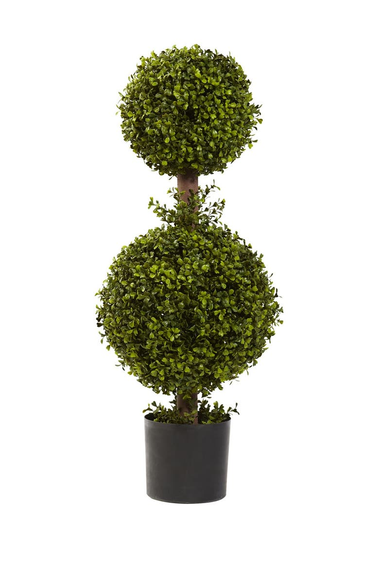 """NEARLY NATURAL Green 35"""" Double Boxwood Topiary, Main, color, GREEN"""