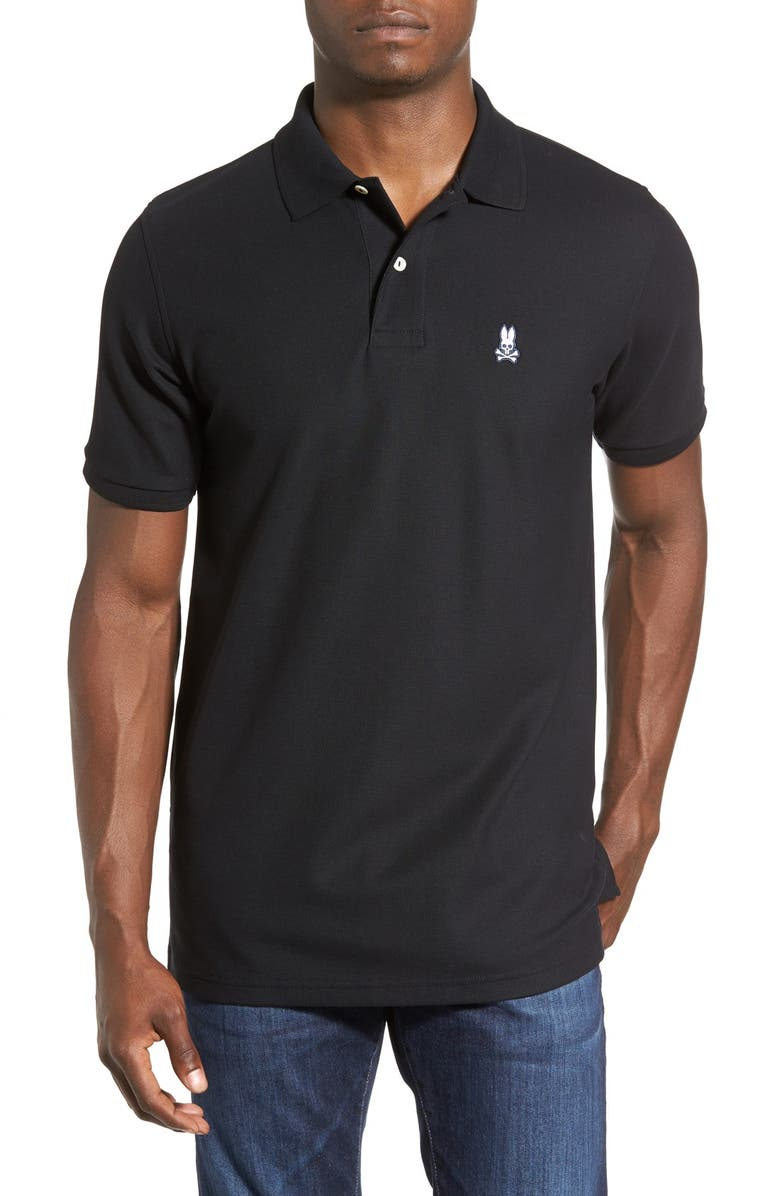 PSYCHO BUNNY The Classic Piqué Knit Polo, Main, color, 001