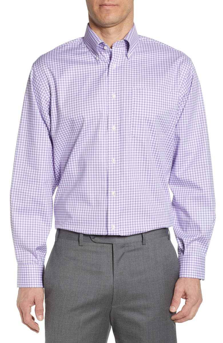 NORDSTROM Classic Fit Non-Iron Gingham Dress Shirt, Main, color, PURPLE ENGLISH