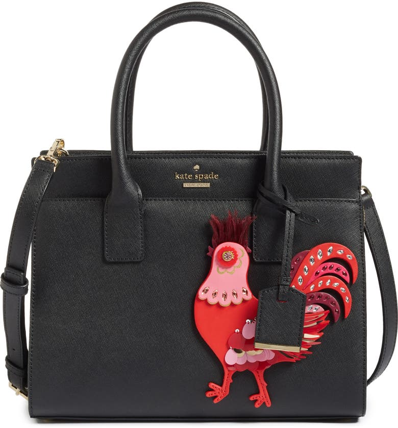 KATE SPADE NEW YORK rooster small candace leather satchel, Main, color, 974