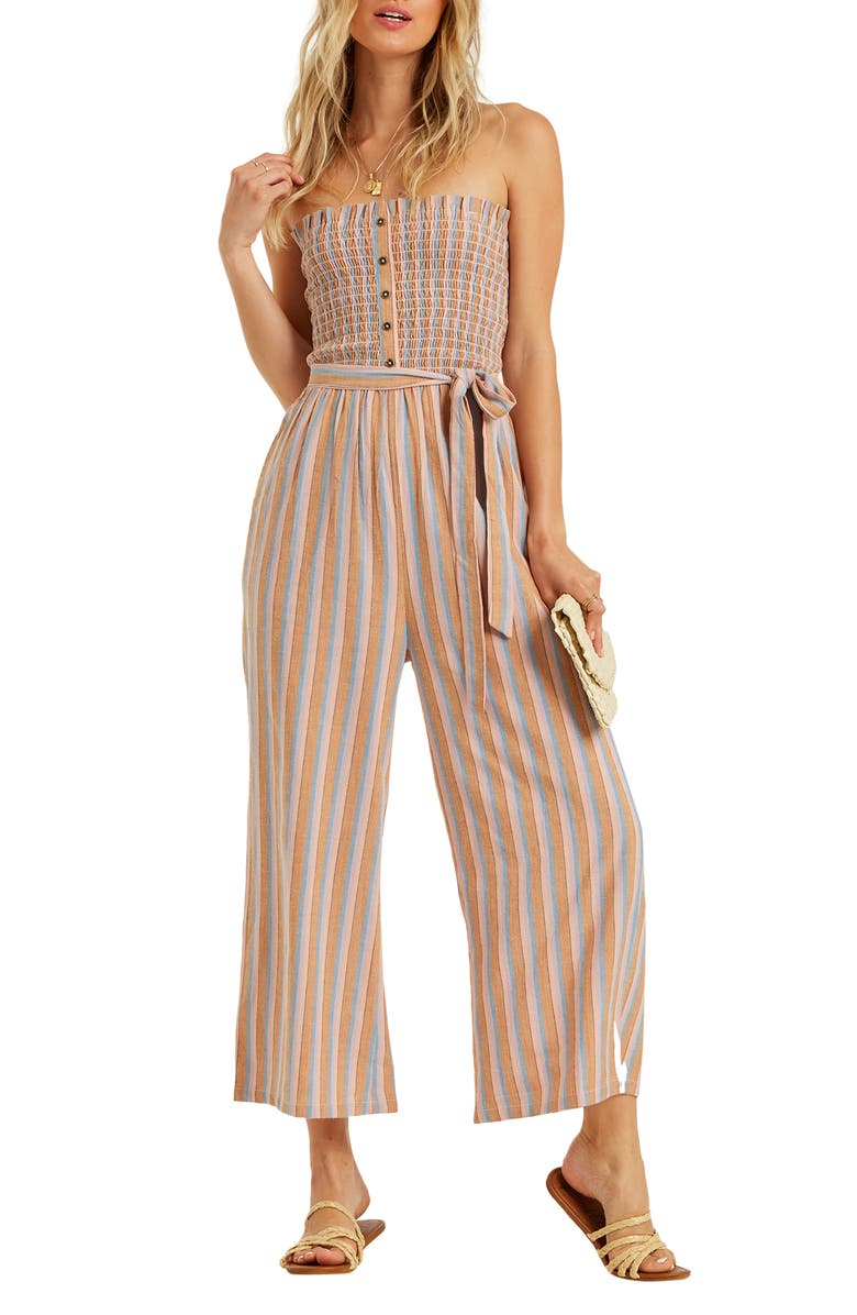 BILLABONG Forward Feelings Strapless Wide Leg Jumpsuit, Main, color, 800