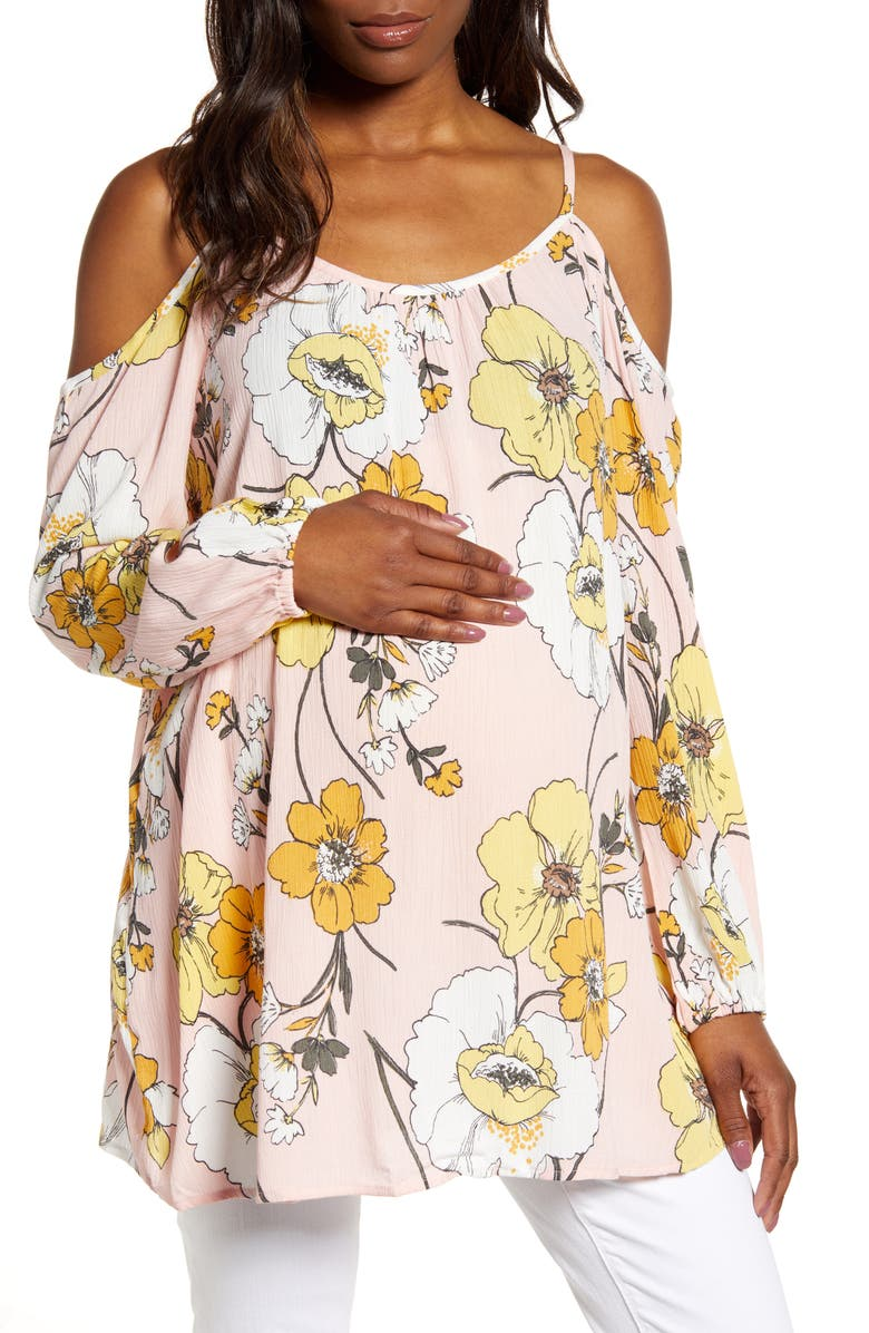 FOURTEENTH PLACE Floral Cold Shoulder Maternity Top, Main, color, PEONY GARDENS