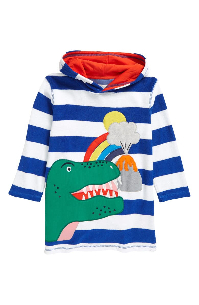 MINI BODEN Kids' Terry Throw-On Cover-Up, Main, color, BRILLIANT BLUE/ WHITE DINO