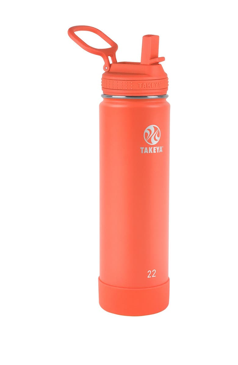 TAKEYA Actives Insulated 22 oz. Stainless Steel Bottle with Straw Lid - Coral, Main, color, CORAL