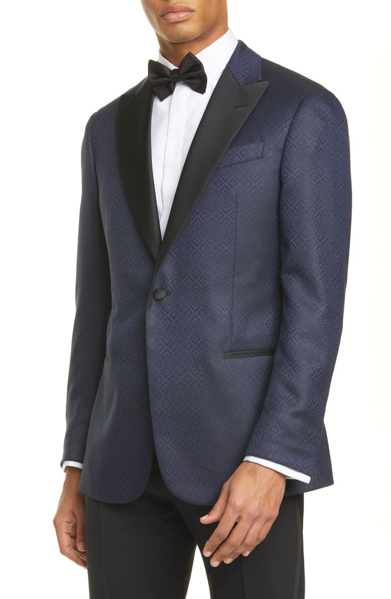 EMPORIO ARMANI G Line Trim Fit Geometric Wool & Silk Dinner Jacket, Main, color, 400