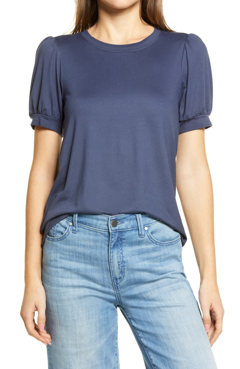 BOBEAU Uma Puff Sleeve Tee, Main, color, INDIGO
