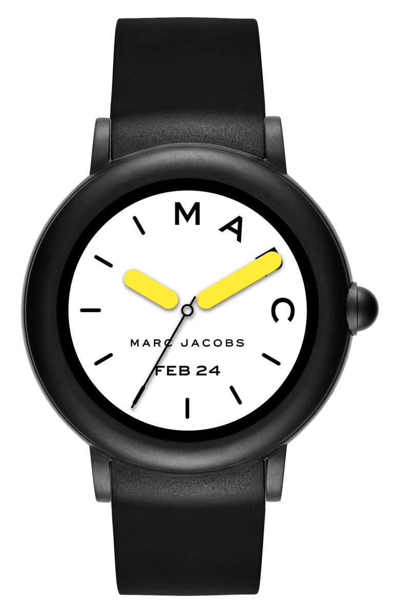 THE MARC JACOBS Marc Jacobs Riley Silcone Strap Smart Watch, 44mm, Main, color, 001