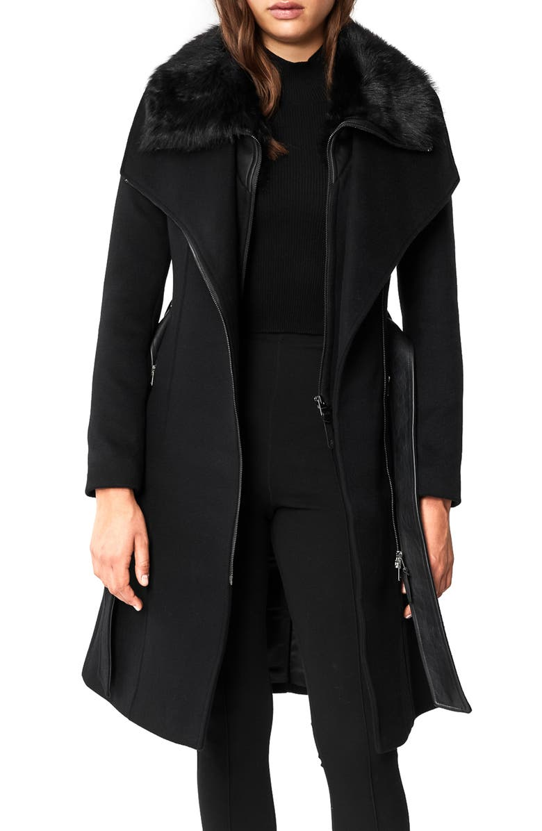 MACKAGE Nori-Sh Wool Coat with Removable Geniune Shearling Trim, Main, color, 001