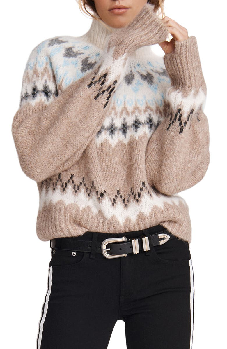 RAG & BONE Fran Fair Isle Turtleneck Sweater, Main, color, OATMEAL