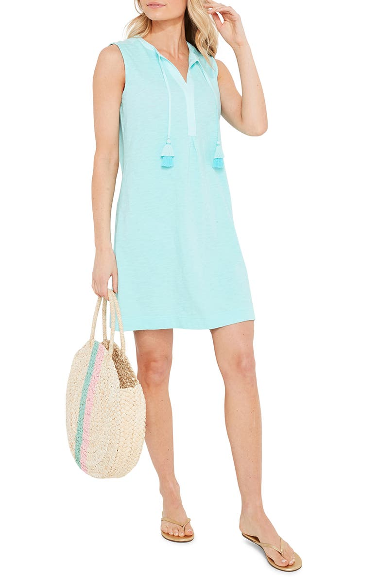 VINEYARD VINES Sleeveless Tassel Tie Cover Up Tunic, Main, color, ANDROS BLUE