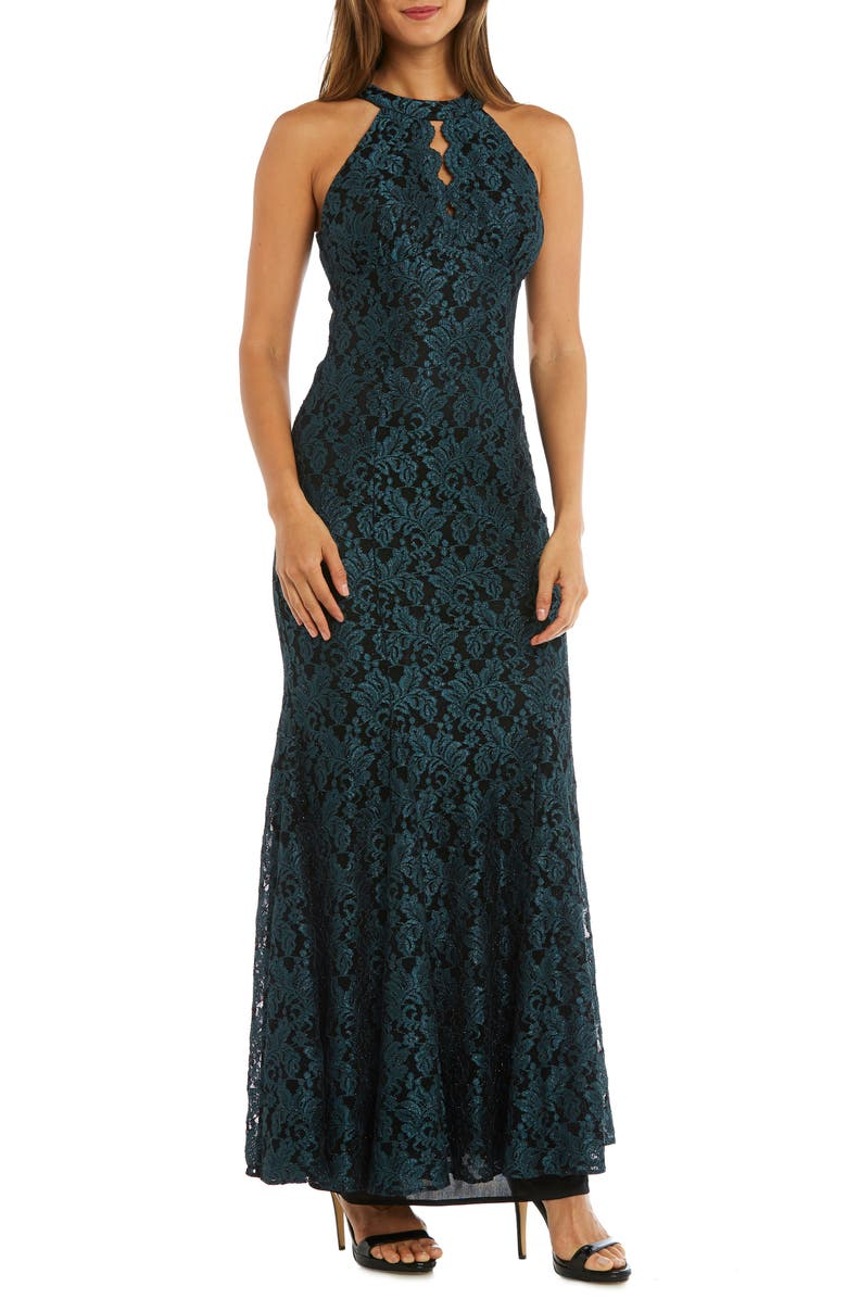 MORGAN & CO. Glitter Lace Trumpet Gown, Main, color, SPRUCE