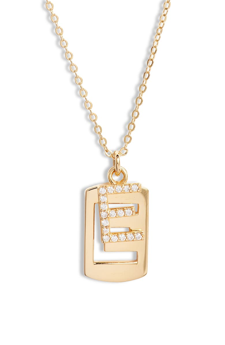 NORDSTROM Initial Dog Tag Pendant Necklace, Main, color, E- CLEAR- GOLD